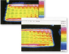 -10度の低温状態での融雪マットの表面熱画像