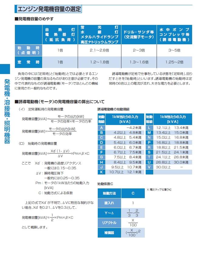 22_エンジン発電機容量の選定